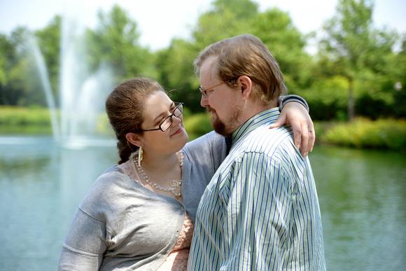 Sarah and David at Joseph Beth's for engagement photos.