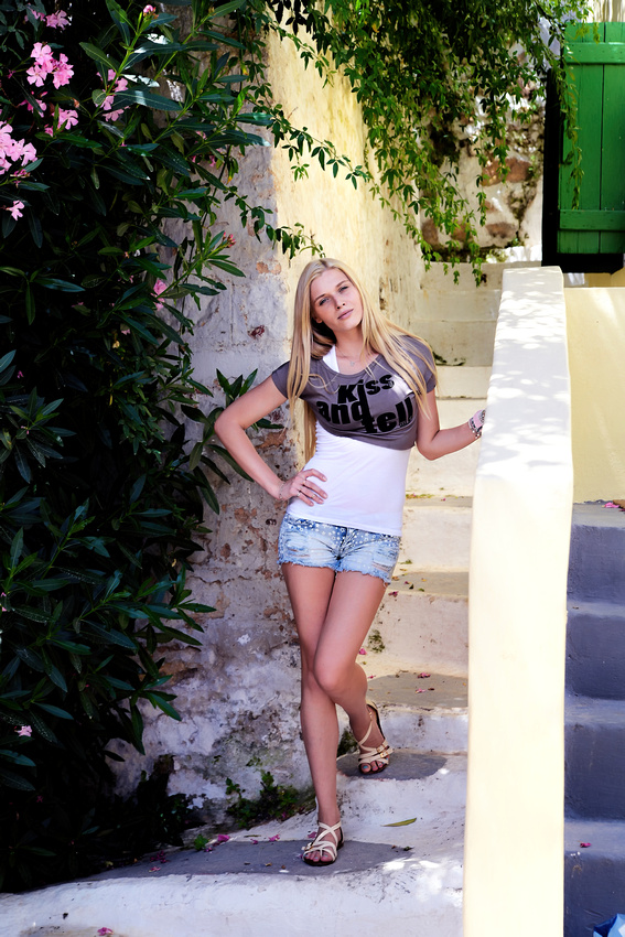 Stephania from St. Petersburg Russia modeling in Athens Greece with Bart Massey Photography near the Acropolis