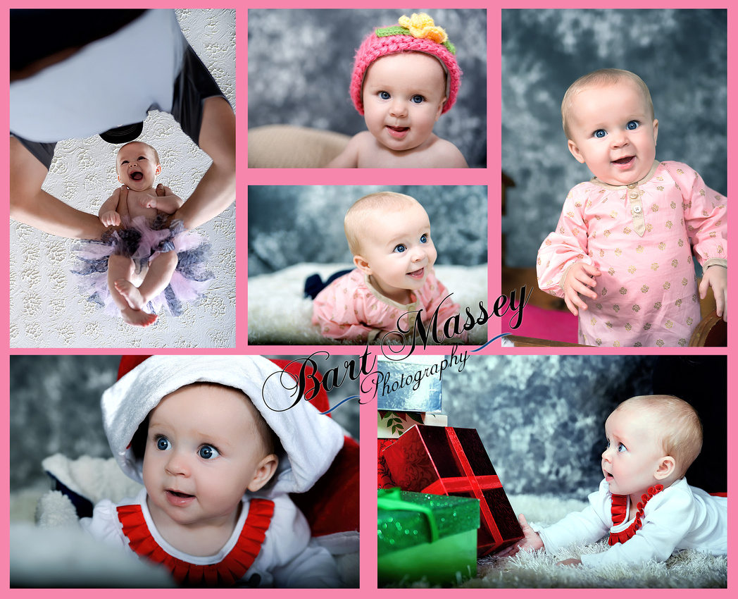 Sophia Moore at 6 months.  Blue eyes, smile, Christmas clothes and plenty of energy.
