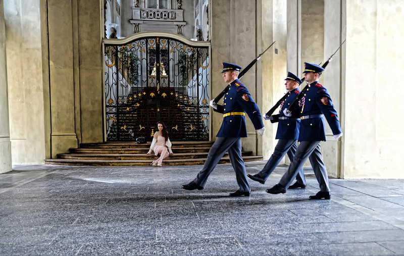 Jitka Brendlova in Prague Castle during Changing of the Guard in the President's Building